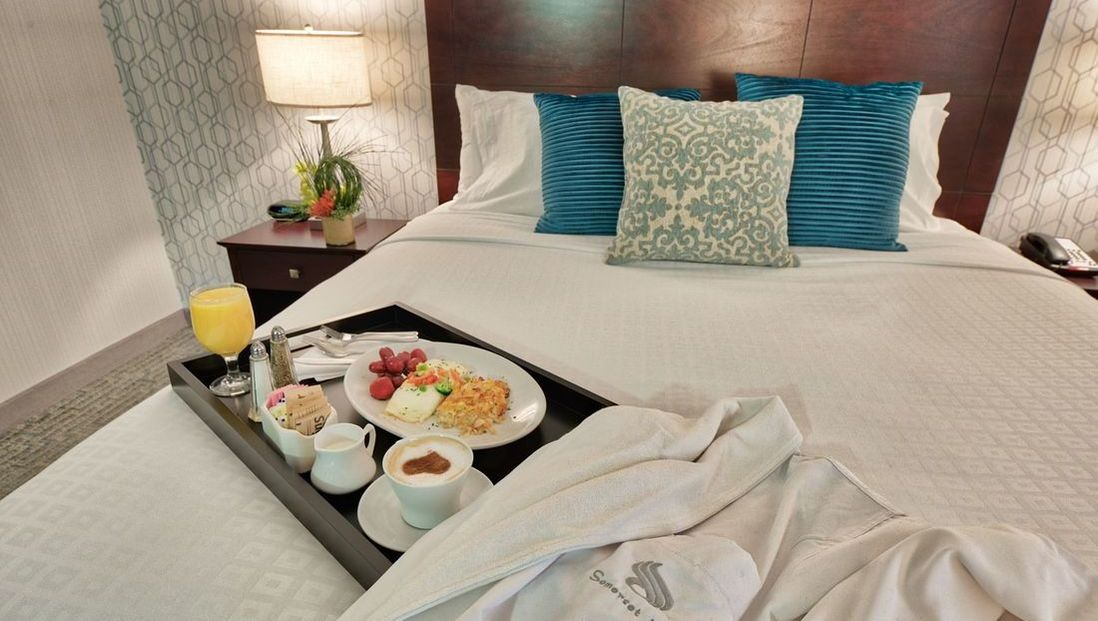Breakfast tray on king bed